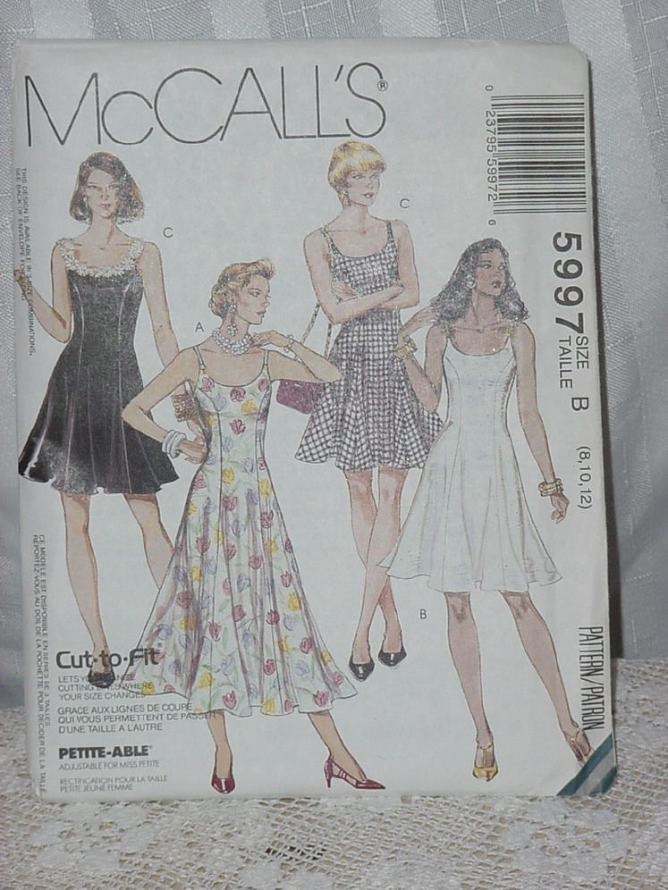 McCalls 5997 Slip Dress Size B 8,10,12  No. 206