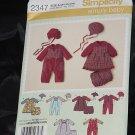 Simplicity 2347 Babies Romper Dress Panties Hats size A xxs, xs,s m, l No. 216