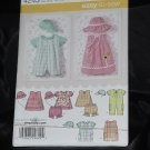Simplicity 4243 Babies Romper, Dress top Panties Hat Size A xxs, xs, x, m, LNo. 216