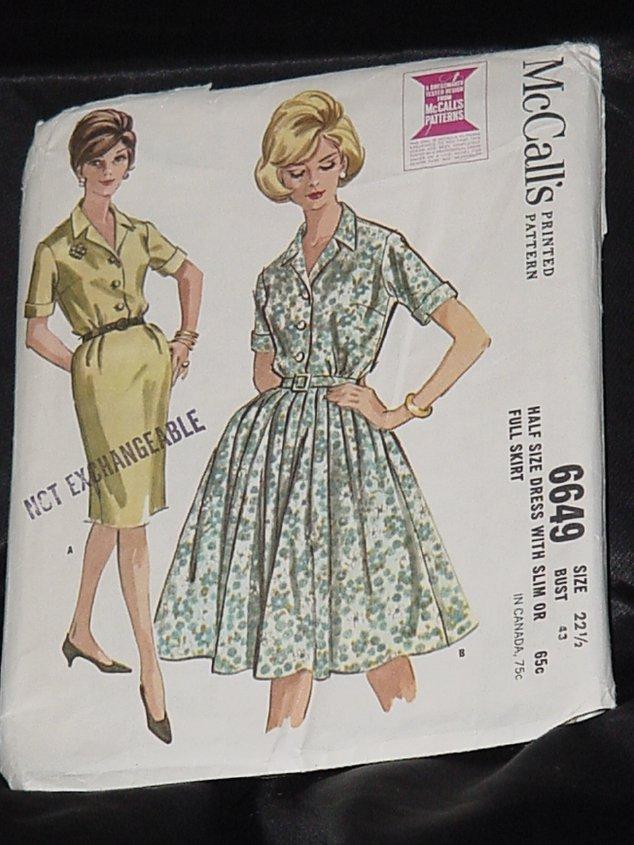 McCall's 1962 Dress Pattern 6649 size 22 1/2 Bust 43 half size dress slim or full skirt  Uncut 216