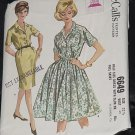 McCall's 1962 Dress Pattern 6649 size 22 1/2 Bust 43 half size dress slim or full skirt  Uncut 216
