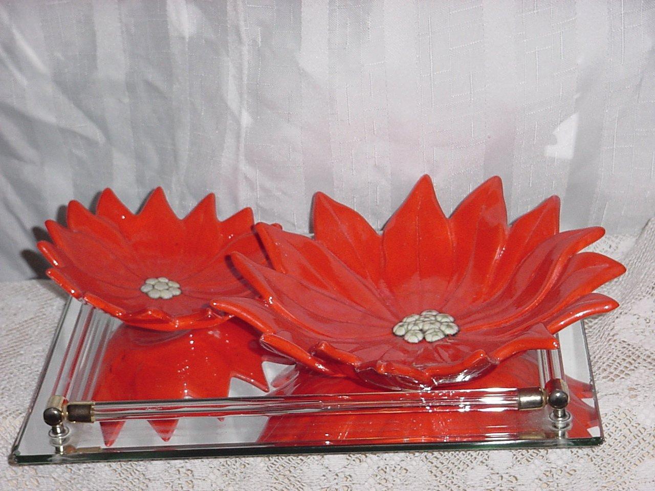 Vintage set Poinsettia Candy Dish Nut Dish Decorative Christmas Ceramic No 217
