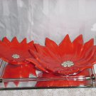 Vintage set Poinsettia Candy Dish Nut Dish Decorative Christmas Ceramic No 217