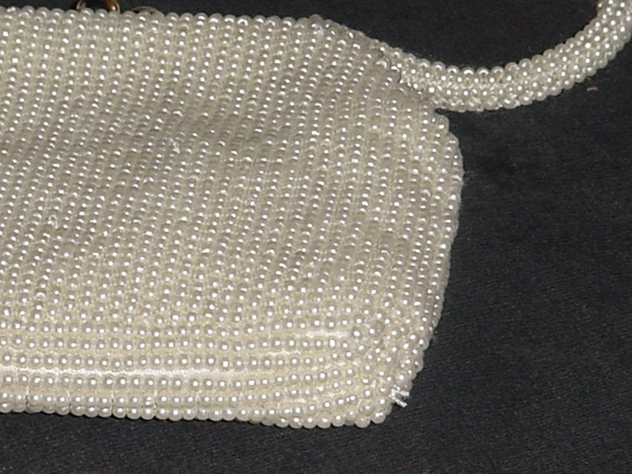 Beaded Clutch Purse Hand bag Ivory beads La Regale   No. 227
