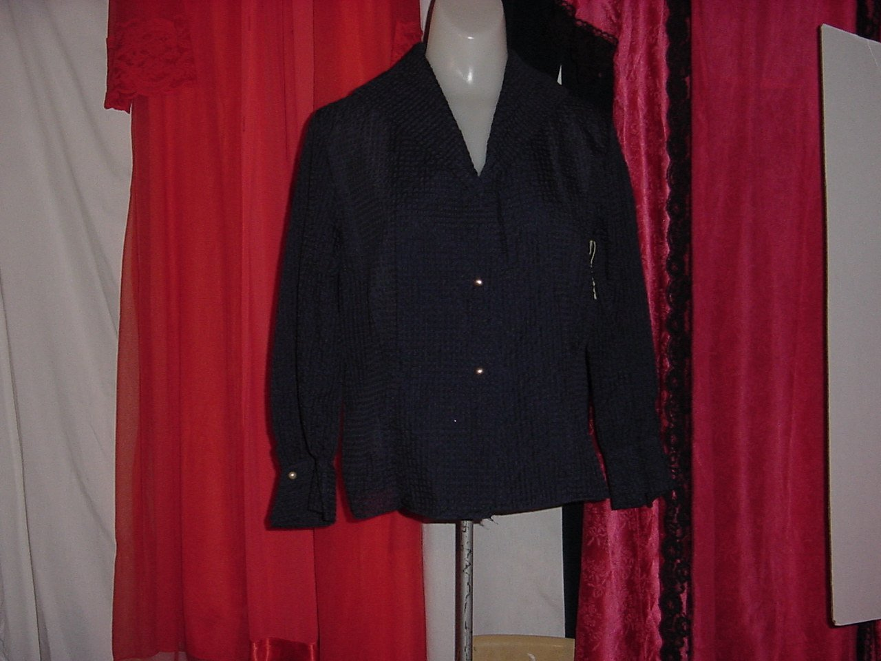 Vintage Navy Blue Waffle Fabric Button Front Blouse Long Sleeves   No. 240