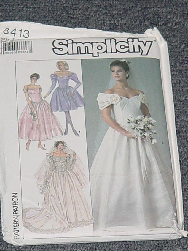 Simplicity 8413 Uncut Wedding Gown Bridal Dress Size 12  No. 250