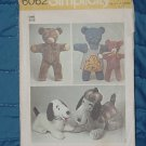 Simplicity Pattern 6062 One Size Set of Stuffed Animals Dogs Bears Uncut  No 250
