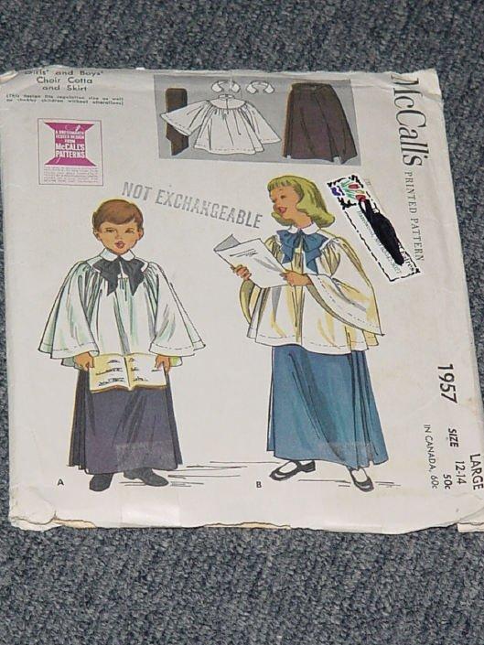 1957 McCalls Girls Boys Choir Cotta Skirt Size 12-14  Uncut   No. 250