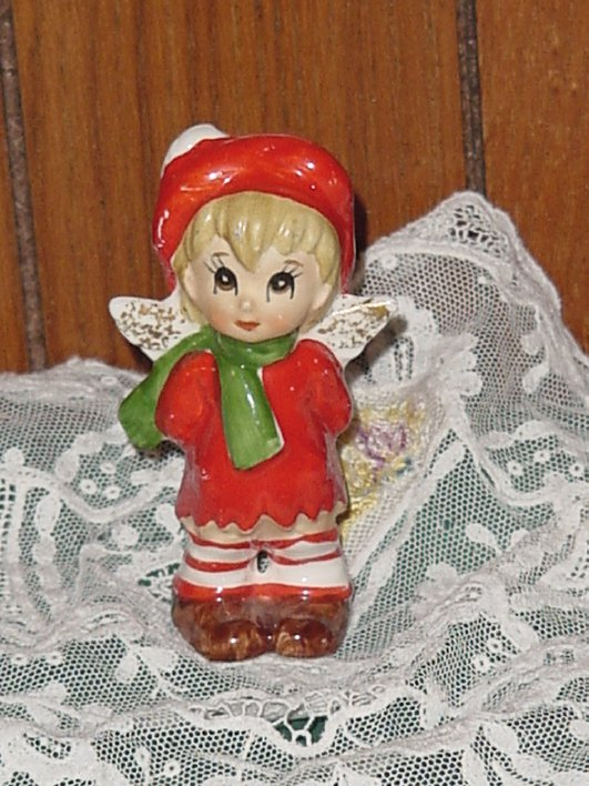 Christmas Vintage Angel Glass Innocent Angel