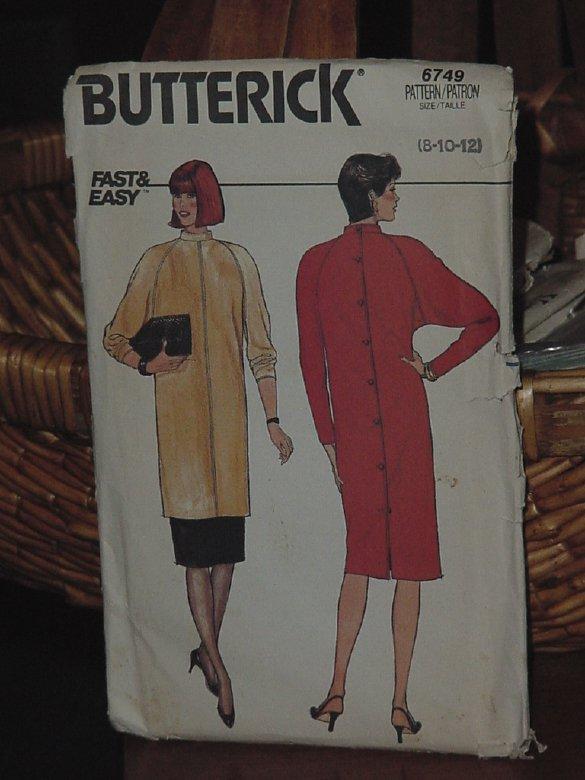 Vintage Chemise Butterick Pattern 6749 Ucut Size 8-10-12 No dec 3