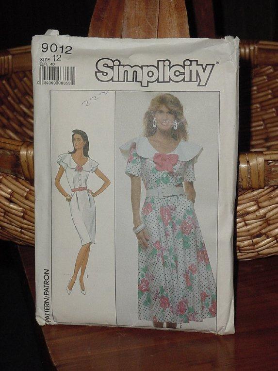 Simplicity 9012  Misses' Dress Portrait collar slim skirt flared Skirt Size 12  Dec   3