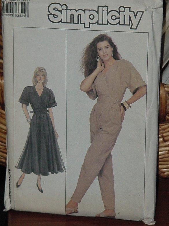 Simplicity 8492  Misses' Wrap Dress Jumpsuit Size 12-14-16 dec 3