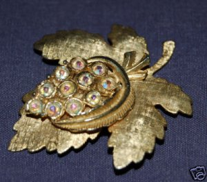 Vintage Rhinestone Aurora Borealis Grape Leaf Pin