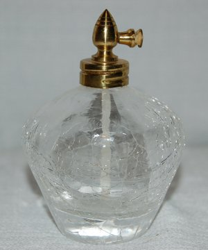 Vintage Clear Crackle Glass Perfume Atomizer / Bottle