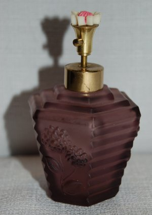 Purple Glass Irice Perfume Atomizer / Bottle w Flower Top