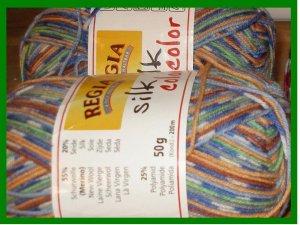 YARN - Regia - SILK COLOR - Blue, Green, Orange, White (0184) - MACHINE WASH