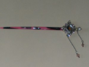 Hair Stick - Pink with Metal End & Dangles --- PRETTY!