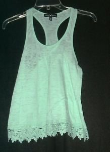 Derek Heart Light Green With Lace Trim T Back Tank Top   Size Small  NWOT