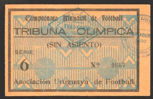 SOCCER WORLD CUP 1930 TICKET Serie 6 - Very rare