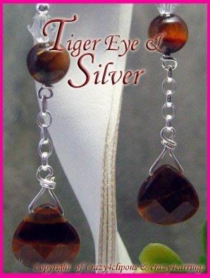 Tiger-eye Sterling silver drop Earrings