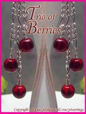 Dangling Red Berries Earrings - Med-Lrg