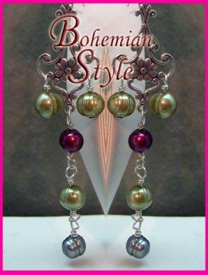 Multicolored Pearl Boho Dangling Earrings