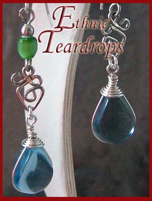 Ethnic Blue Murano teardrop dangling earrings