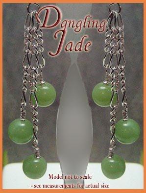 Jade beads Dangling Silver Earrings