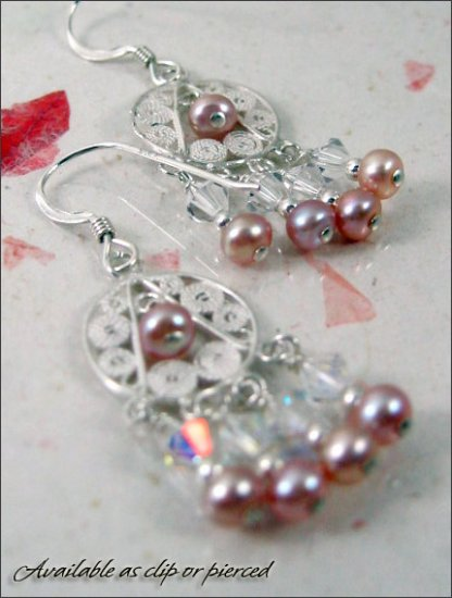 Sterling silver: Romantic chandelier earrings