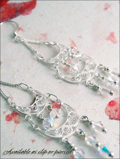 Sterling Silver: Bridal Romantic chandelier earrings