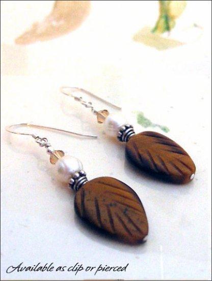 Earthy: Tiger eye and pearl earrings