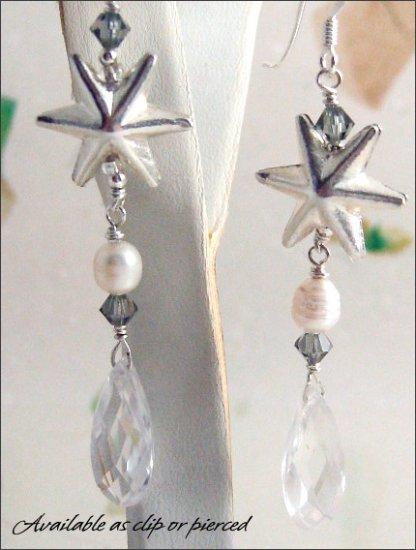 Sterling Siver: Zirconia pearl dangling earrings