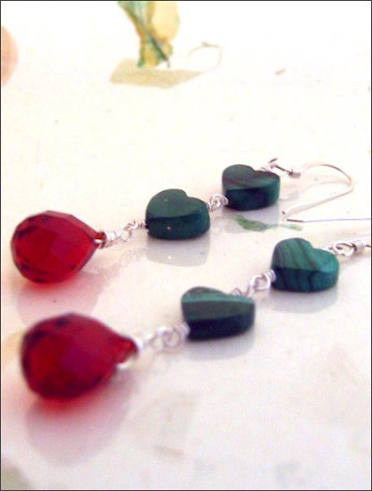 Sterling Silver: Malaquite Crystal dangling earrings
