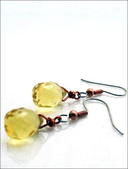 Copper: Crystal teardrop earrings