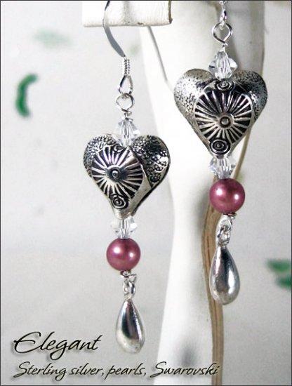 Sterling silver: Elegant Heart pearl dangling earrings