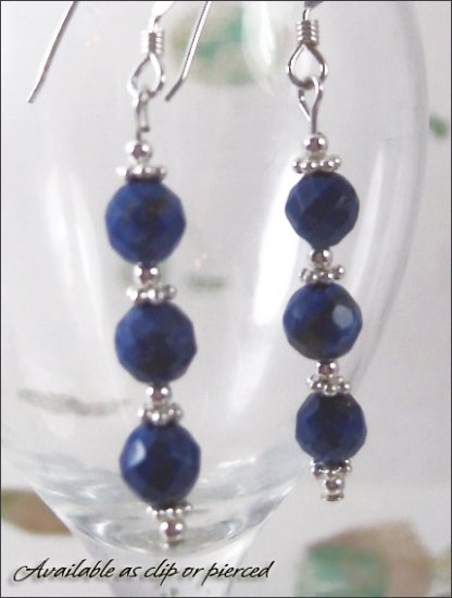 Sterling silver: Lapis Lazuli blueberry earrings