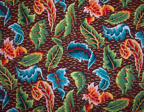 Kaffe Fassett Embroidered Leaf  Brown Fabric