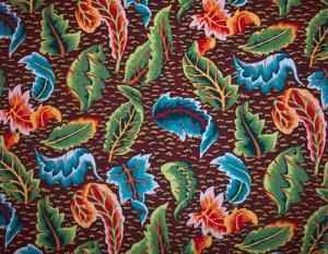 Kaffe Fassett Embroidered Leaf  Brown Fabric