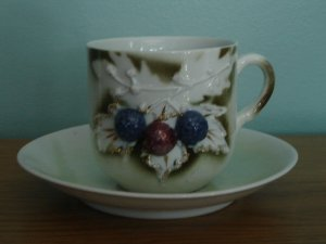 vintage cup & saucer made in Germany antique gold trim berries leaves