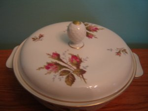 vintage Rosenthal fine china covered serving dish Helena made in Germany white pink rose pattern