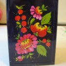 vintage tolewear style tin with lid black red pink flower tole painted look retro metalware