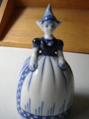 Delft vintage Dutch girl bank blue white glazed pottery handpainted figurine Holland