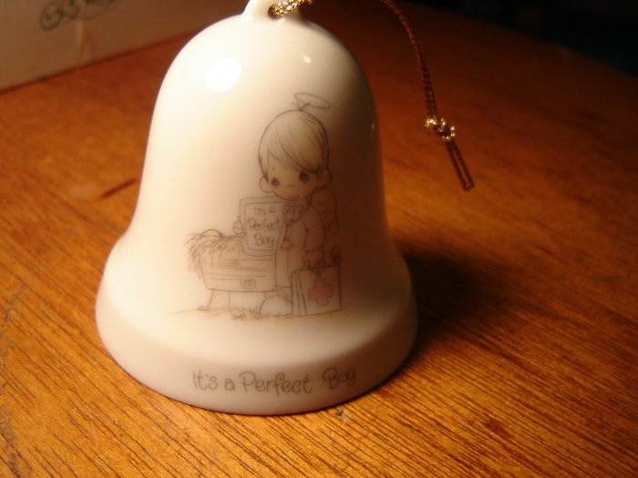 Precious Moments porcelain bell ornament It's a Perfect Boy 1986 Enesco collectible