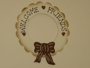 Welcome Friends sign wood wreath country decor hand painted tan cream brown