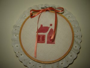 country house stencil fabric & eyelet lace embroidery hoop hand made wall decor