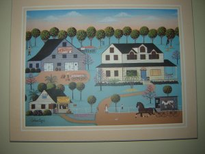 Orange Blossom Farm print 8 by 10 inches mounted on beveled board artist Colleen Sgroi
