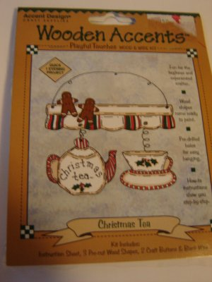 Wooden Accents craft project kit Christmas Tea pre-cut wood shapes NEW in pkg