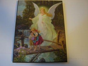 Guardian Angel art print artist Heilige Schutzengel 8 by 10 mounted on wood ready to hang