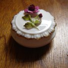vintage Coalport bone china mini covered dish trinket box 3D raised rose deep pink