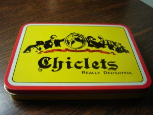 """Chiclets gum advertising tin vintage hinged box 4"""" X 5.5"""" X 1"""" excellent condition"""